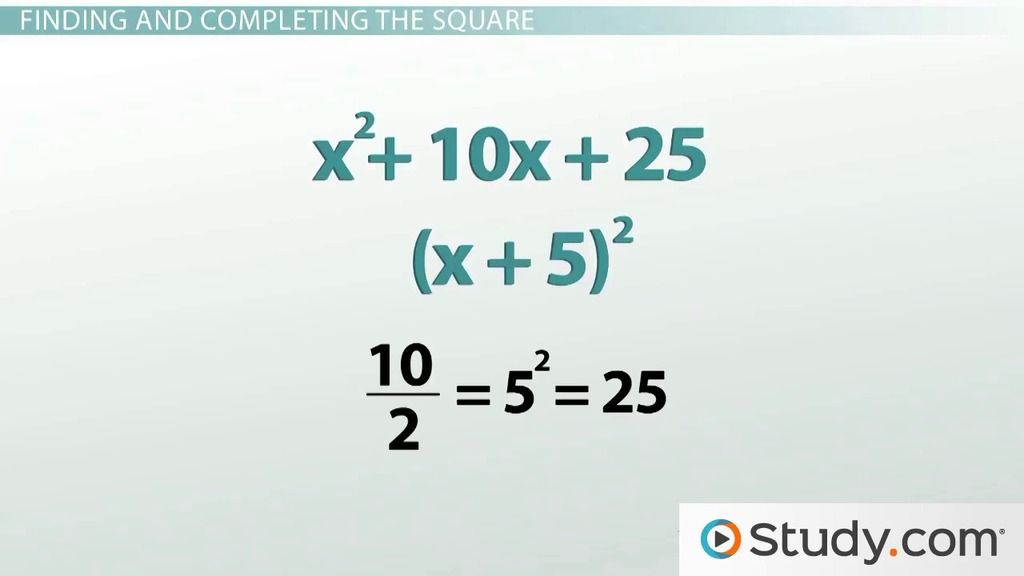 How To Complete The Square Video Lesson Transcript Study Com