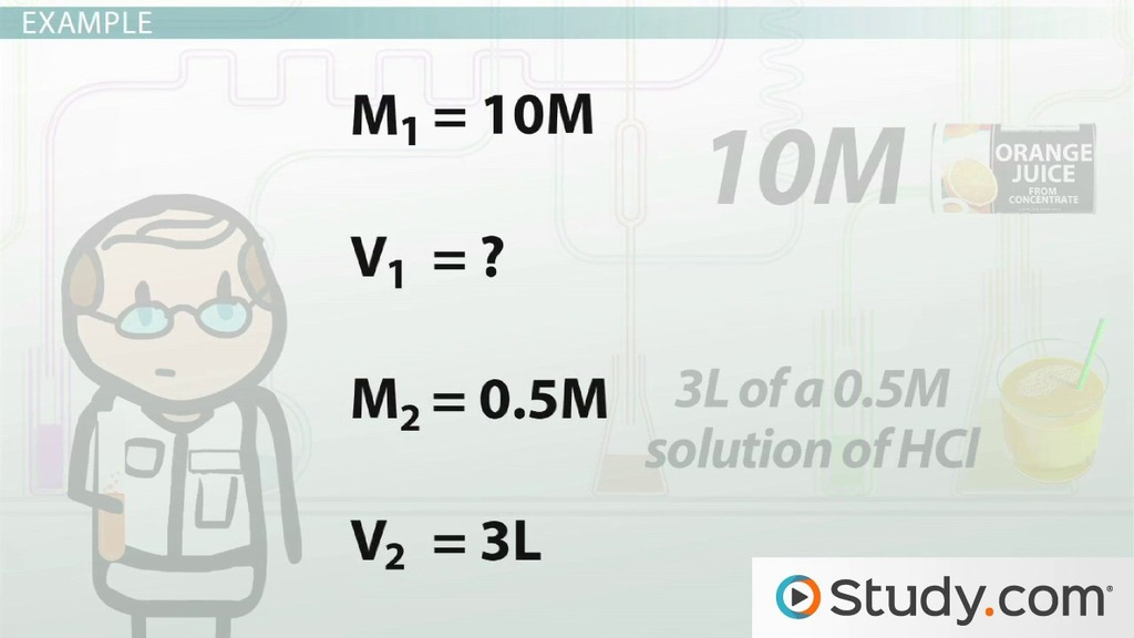 Calculating Dilution Of Solutions Video Lesson Transcript