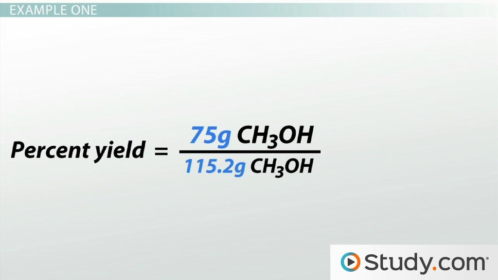 Calculating Reaction Yield And Percentage Yield From A Limiting