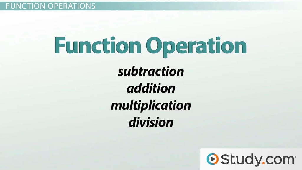 How To Add Subtract Multiply And Divide Functions