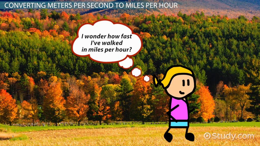 How To Convert Meters Per Second To Miles Per Hour Video Lesson