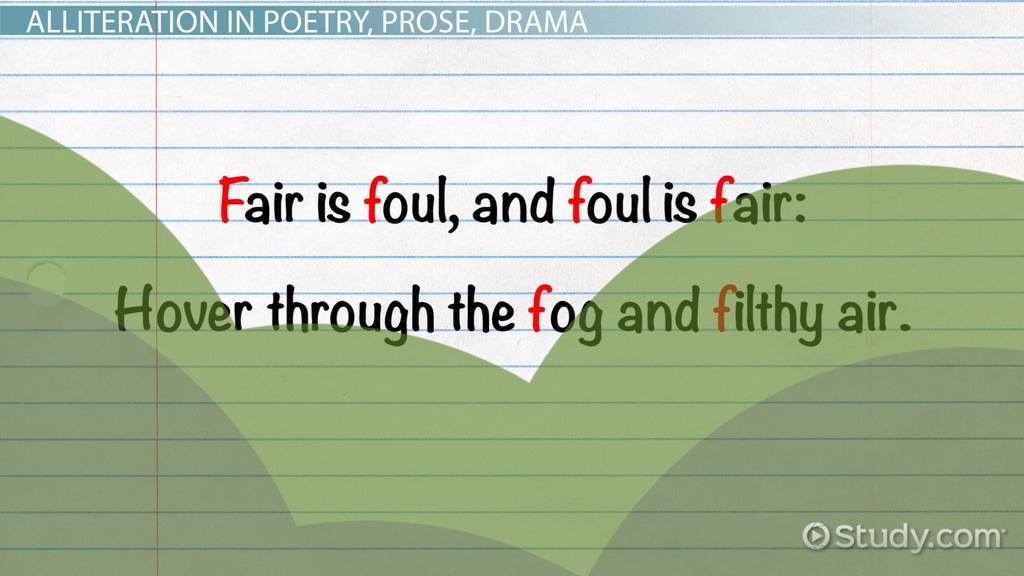 Examples Of Alliteration In Literature Video Lesson Transcript