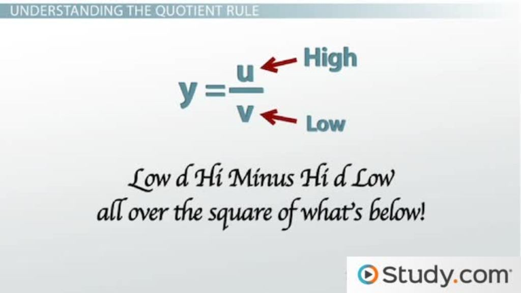 when to use the quotient rule for differentiation video