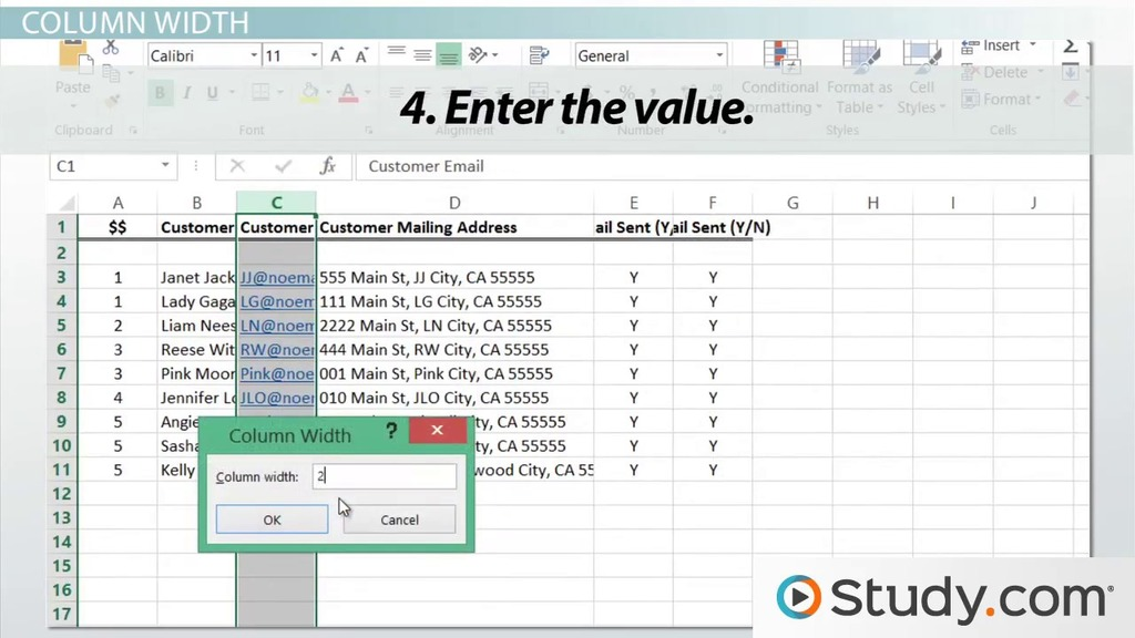 Adjusting Column Width Row Height In Excel Video Lesson