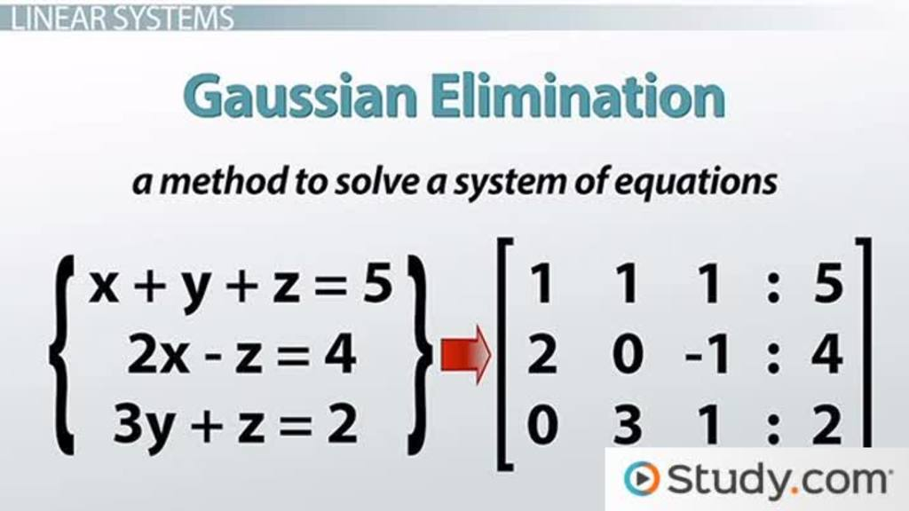 How To Solve Linear Systems Using Gaussian Elimination Video