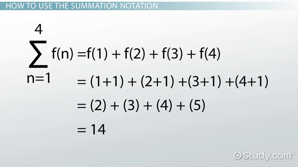 Summation Notation Rules Examples Video Lesson Transcript