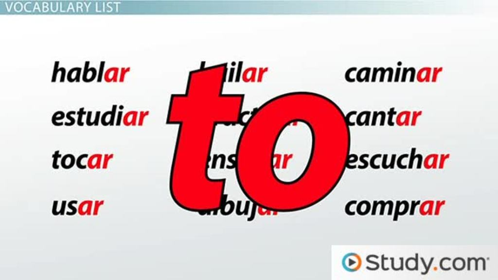 AR Verbs in Spanish: Present Tense Conjugation and Vocabulary List ...