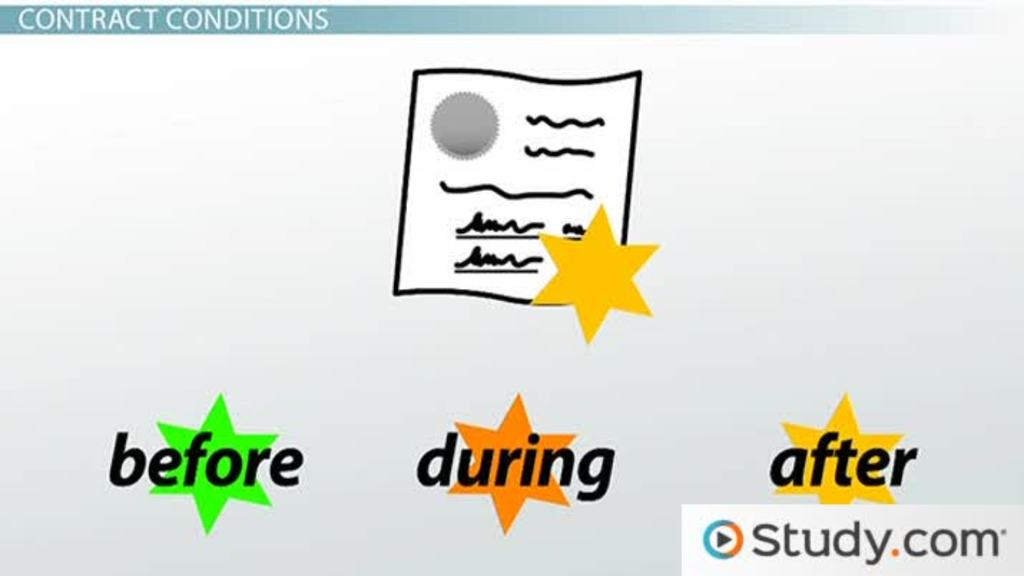 Conditions In Contracts Definition Forms Video Lesson