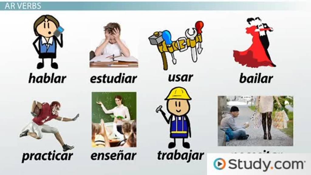 conjugation of regular ar verbs in spanish video lesson transcript. Black Bedroom Furniture Sets. Home Design Ideas