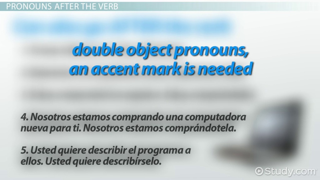 Correct Placement Of Object Pronouns In Spanish Video