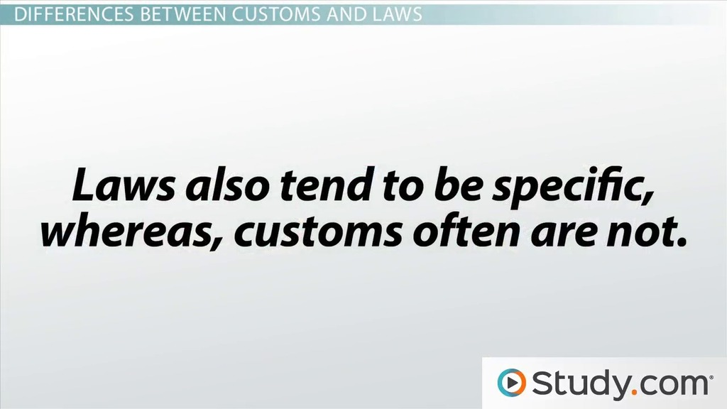 difference between laws and customs