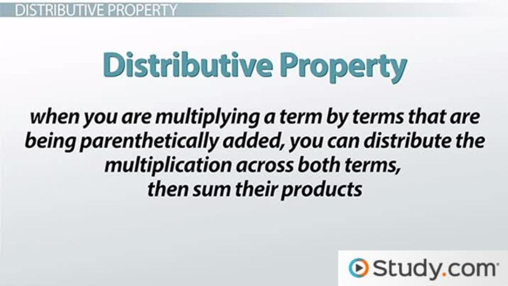 The Distributive Property And Algebraic Expressions Video Lesson