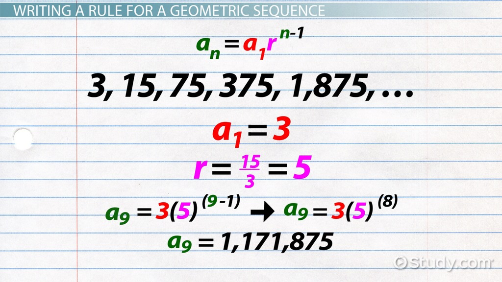 Geometric Sequence Formula Examples Video Lesson Transcript