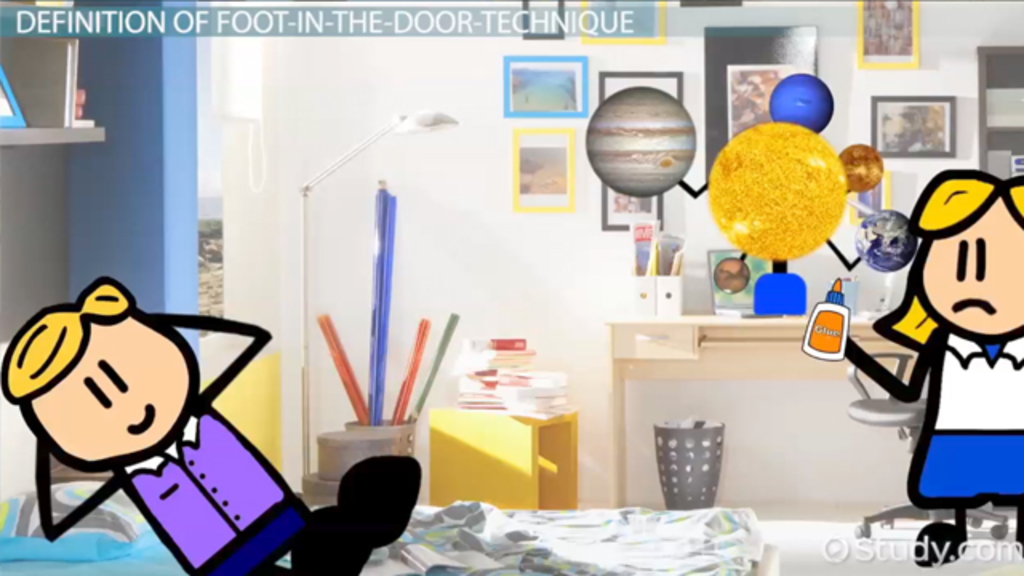 Foot In The Door Technique Definition Effect Examples Video Lesson Transcript Study Com