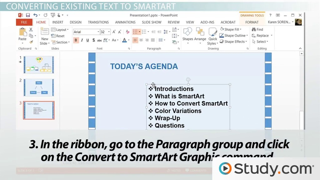 How to convert text to smartart in powerpoint video lesson how to convert text to smartart in powerpoint video lesson transcript study ccuart Choice Image