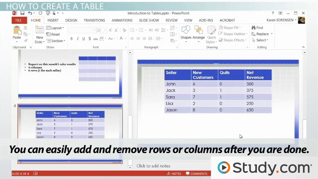 introduction to tables in powerpoint video amp lesson