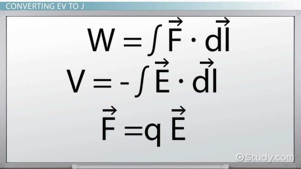 Converting 1 Ev To J Video Lesson Transcript Study