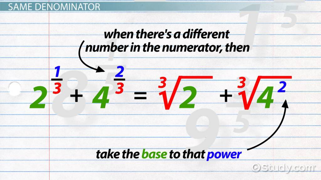 Addition Subtraction Of Rational Exponents Video Lesson. Addition Subtraction Of Rational Exponents Video Lesson Transcript Study. Worksheet. 11 1 Practice Worksheet Rational Exponents Answers At Clickcart.co