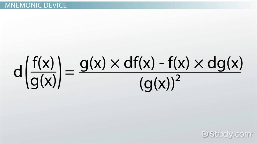 Quotient Rule: Formula & Examples - Video & Lesson Transcript