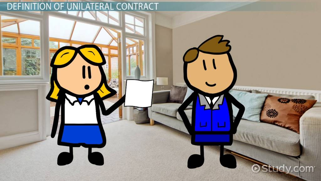 Unilateral Contract Definition Example Video Lesson
