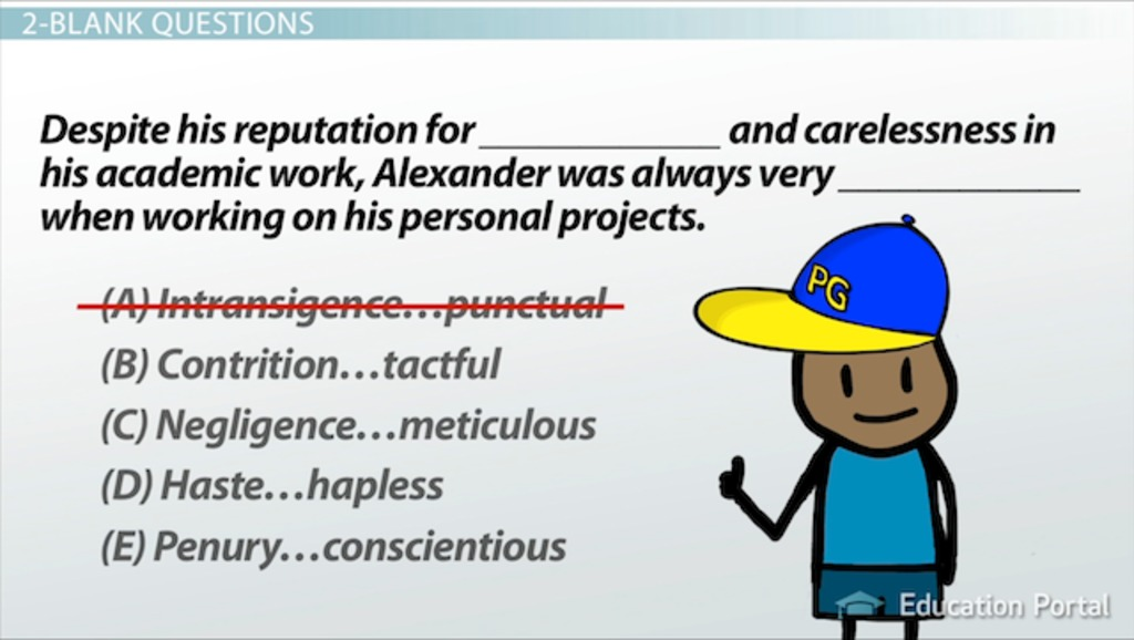 Double Blank Sentence Completion Questions: Strategies