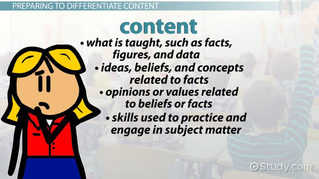 How To Differentiate Instruction With Elements Of Content Video
