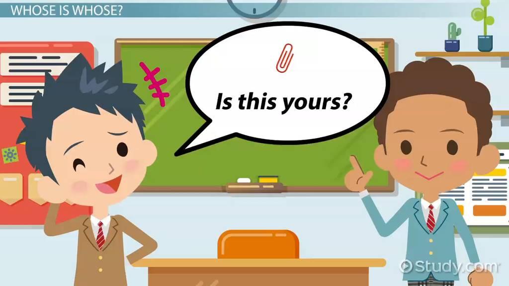 ESL Possessive Pronouns: Games & Activities - Video & Lesson Transcript    Study.com