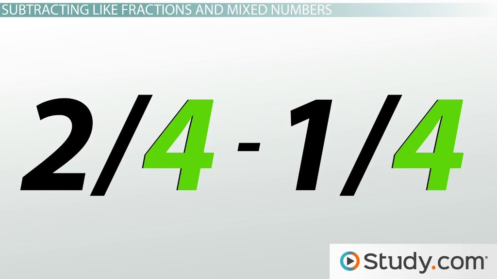 How to Add and Subtract Like Fractions and Mixed Numbers - Video ...