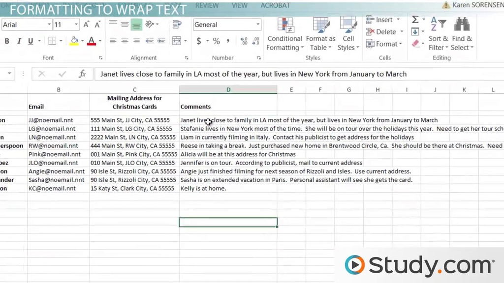 Wrapping Text In Excel How To Wrap Text Within Cells Video