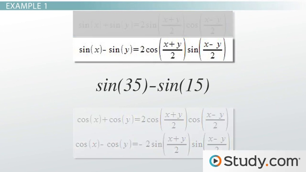 Sum To Product Identities Uses Applications Video Lesson