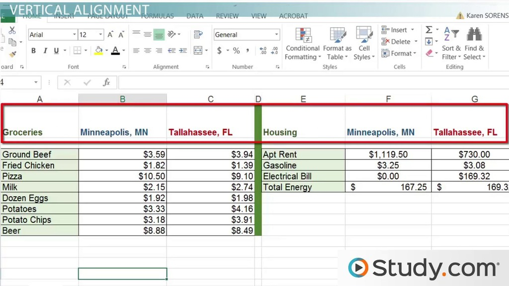 How To Modify Cell Alignment Indentation In Excel Video Lesson