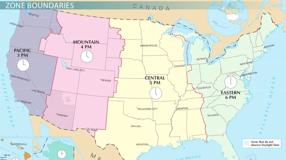 us time zones  pacific  mountain  central  u0026 eastern