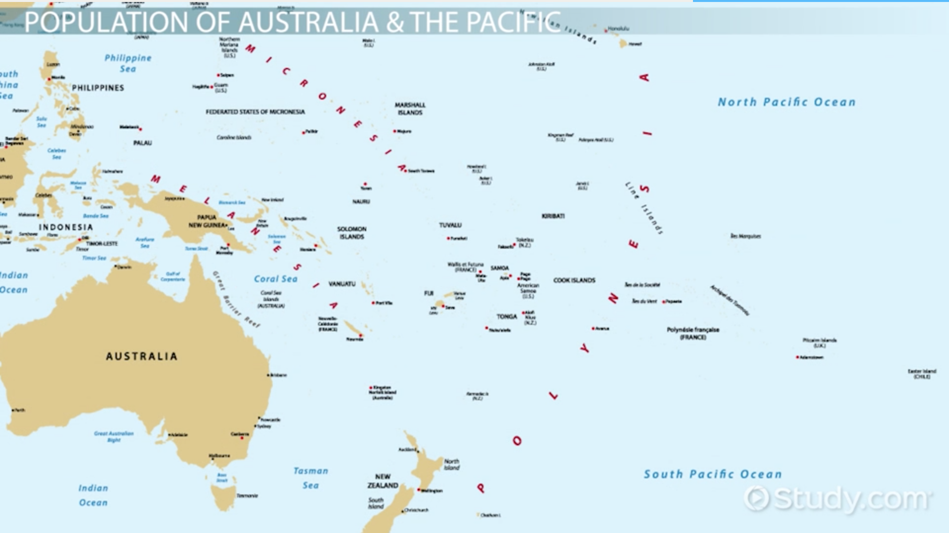 Australia And Pacific Map.Demographics Of Australia The Pacific Islands Video Lesson