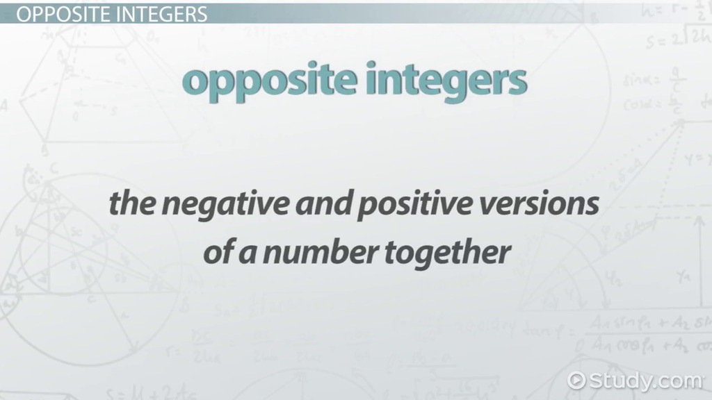 Absolute Value Opposite Integers Video Lesson Transcript