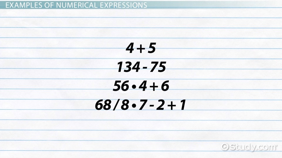 How To Write A Numerical Expression Definition Examples Video