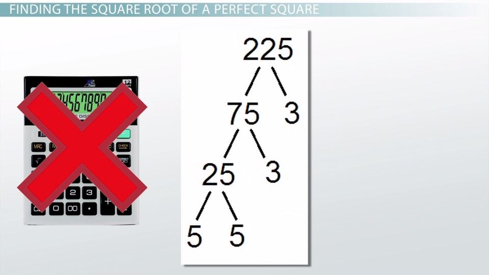 Evaluating Square Roots Of Perfect Squares Video Lesson Transcript Study Com It simplifies to 2√5, but this is also irrational. evaluating square roots of perfect squares video