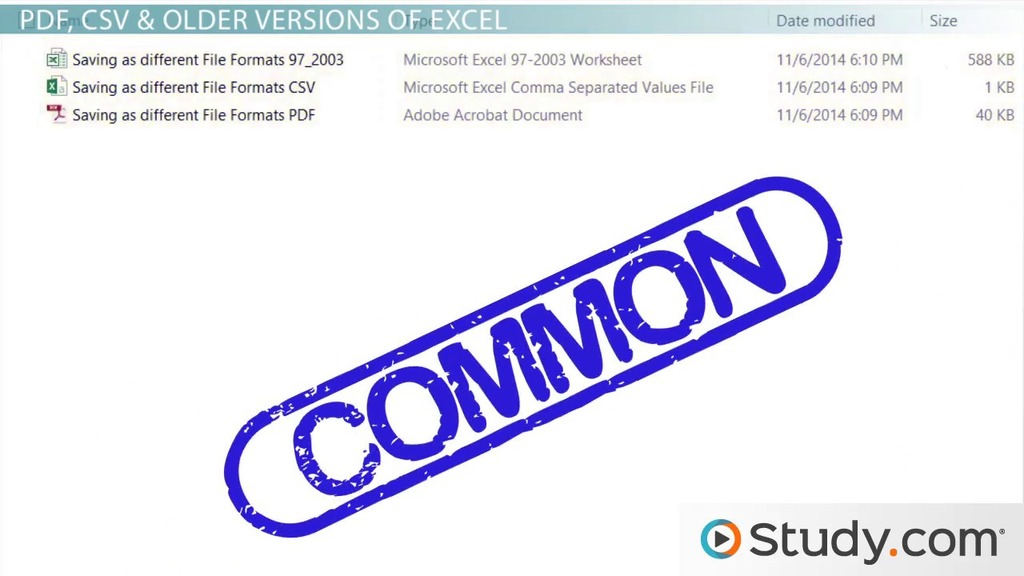How to Save Excel Workbook Files in Different Formats