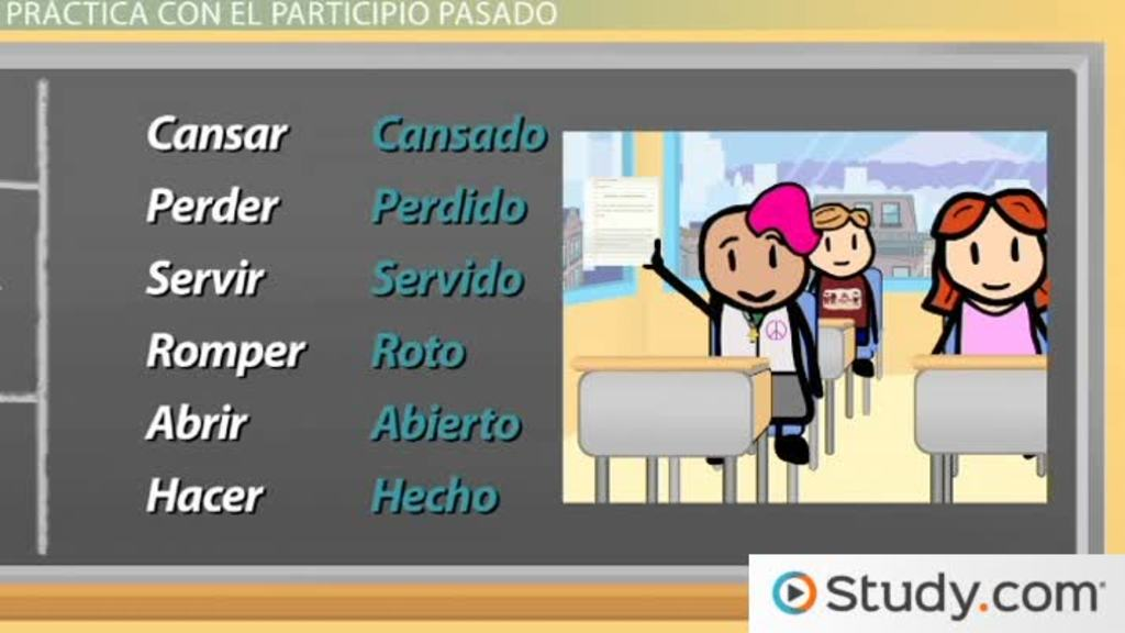 spanish grammar the past participle video lesson transcript. Black Bedroom Furniture Sets. Home Design Ideas