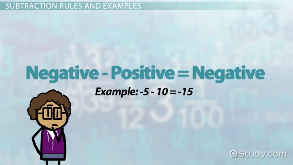 Subtracting Integers Rules Examples Video Lesson Transcript