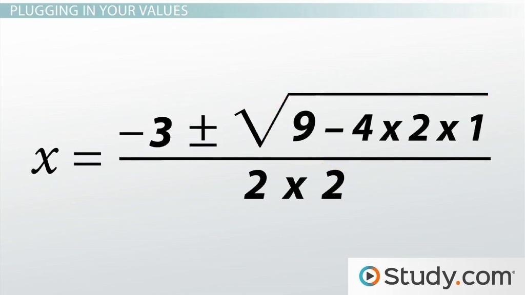The Quadratic Formula Definition Example Video Lesson