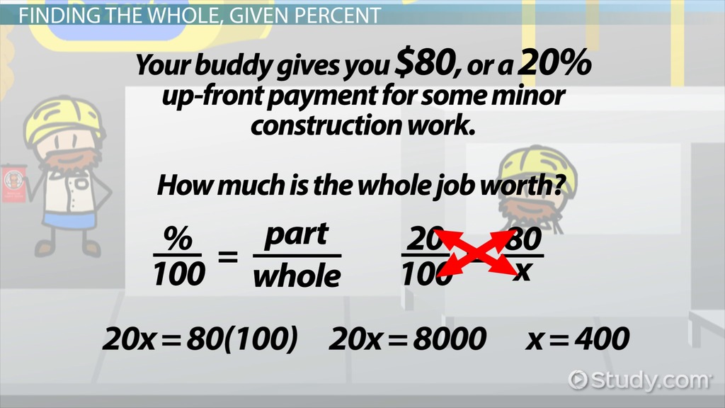 How To Find The Whole Given A Percent Video Lesson Transcript
