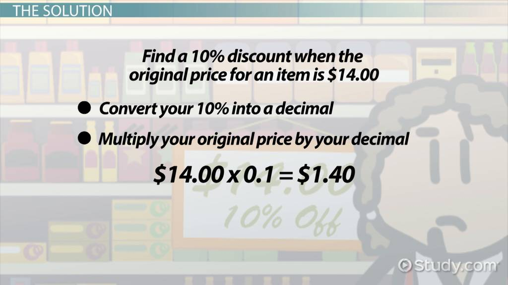 Calculating A 10 Percent Discount How To Steps Video Lesson
