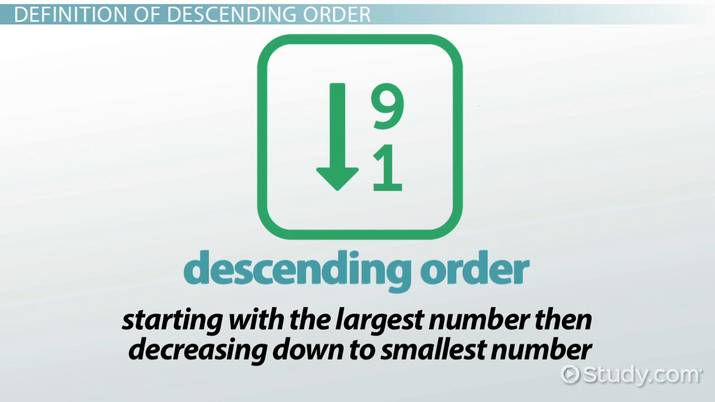 What is Descending Order? - Definition & Example - Video