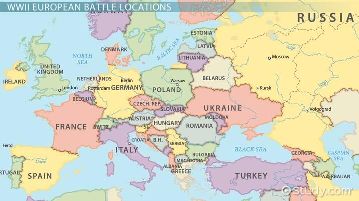 Locations Of Major Events Battles In World War Ii Europe Video Lesson Transcript Study Com