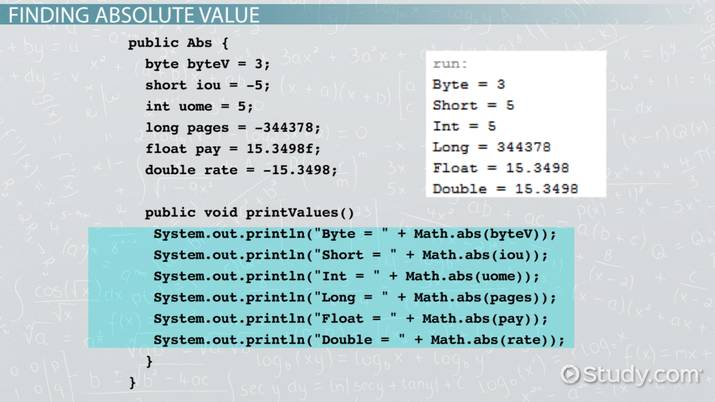 Java Absolute Value: Method & Examples - Video & Lesson Transcript