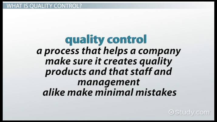 Four Types Of Quality Control Video Lesson Transcript Study Com