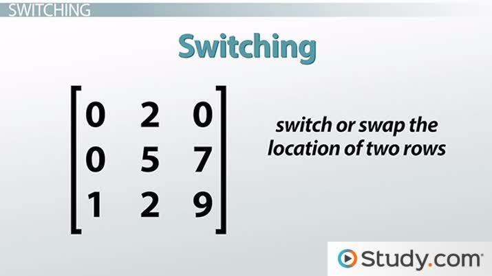 How to Perform Matrix Row Operations - Video & Lesson Transcript
