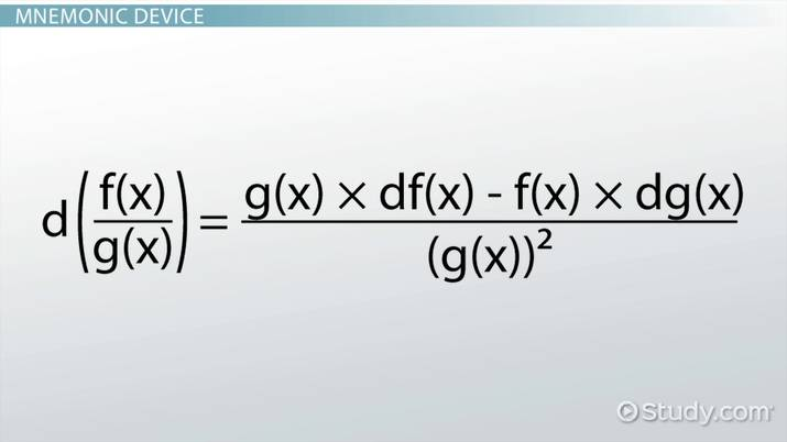 Quotient Rule Formula Examples Video Lesson
