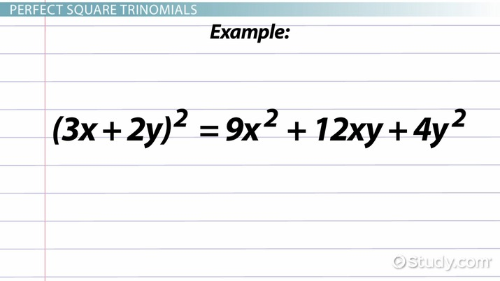Perfect Square Trinomial Definition Formula Examples Video