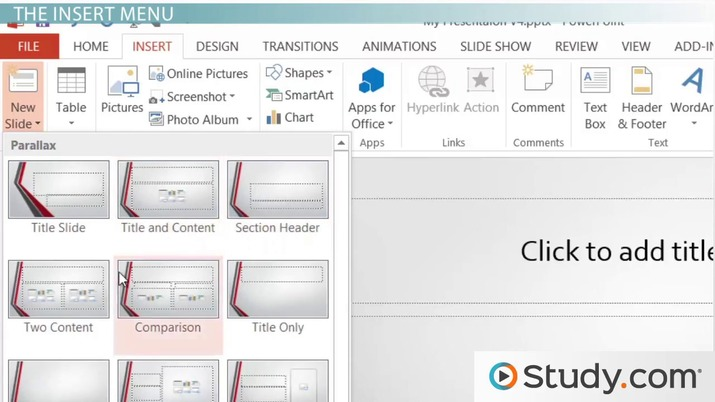 Using the Insert and Design Menus in PowerPoint - Video